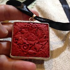 Hand Carved Genuine Red Cinnabar Pendant Silver Bronze Vintage Necklace Pendant