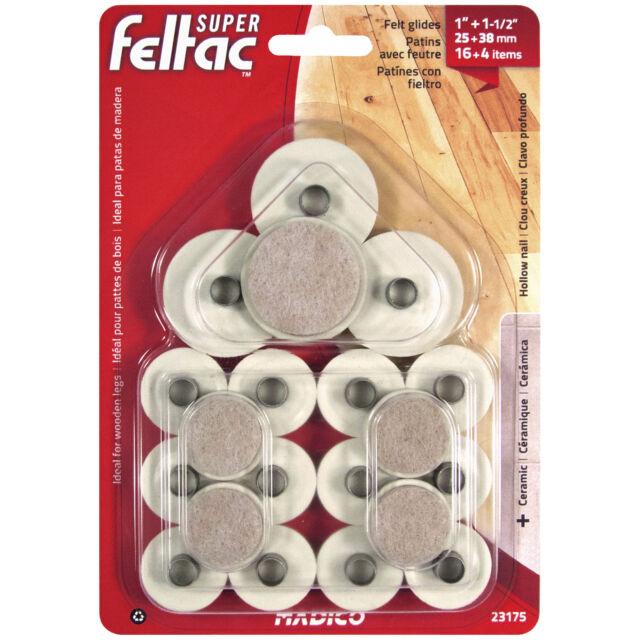 """MADICO FELTAC Multipack 1 1//8/"""" 1 1//2/"""" Furniture Leg Felt Floor Savers 23305"""