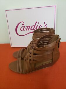 Candies-Women-039-s-Size-7-5-Strappy-Brown-Leather-Wedge-Heels-Sandals-New-w-Box