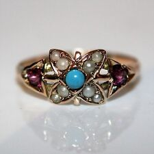 Victorian Pink Sapphire Pearl Turquoise 9ct Rose Gold Ring size N ~ 6 3/4