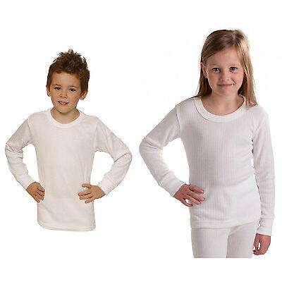 Boys Girls Children Long Sleeve Thermal Vest Grey White Start Age 2 up Age 13