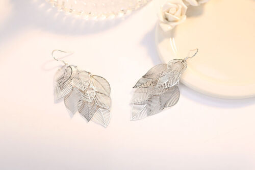 Boho 925 Sterling Silver Plated Leaves Hook Drop Dangle Party Cocktail Earrings