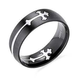 Men/'s Punk Celtic Cross Fleur de lis Cuban Curb Chain Stainless Steel Bracelet