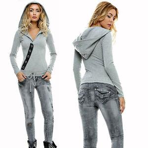Foggi-Damen-Jeansoverall-Jeans-Overall-Roehrenjeans-Hoodie-Pullover-Grau