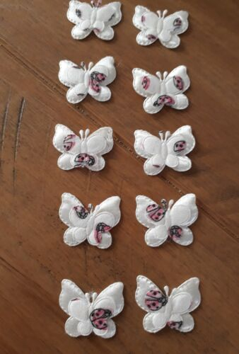 10 Pink /& white padded embellishments Fabric Flatback double butterflys