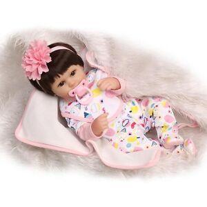 "17"" Lifelike Reborn Dolls Silicone Vinyl Handmade Baby + Pink Floar Headband"