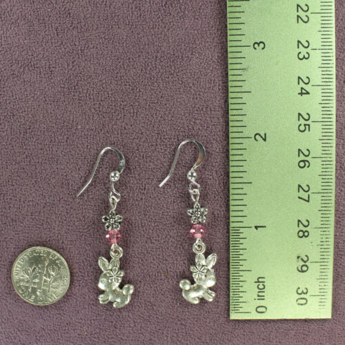 BUNNY RABBIT NECKLACE EARRINGS SET Totem Lilac Pink Flower Heart Crystals Silver
