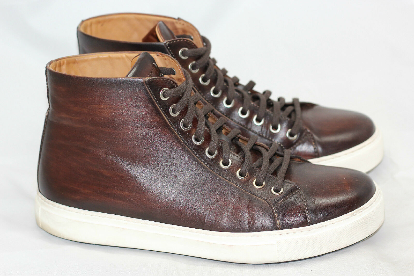 Mens Magnanni Brando High Top Sneakers Leather Lace Up - Mid Brown 9 M (G9)