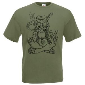 Mens-Olive-Green-Hippy-Peace-T-Shirt-Gents-Weed-Hippie-420-Festival-Tshirt