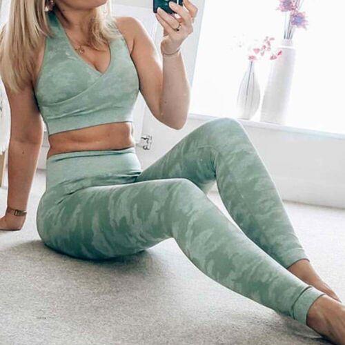 Seamless Womens 2pcs Yoga Suit Crop Top+Leggings Bra Pants Sport Gym Set Outfit