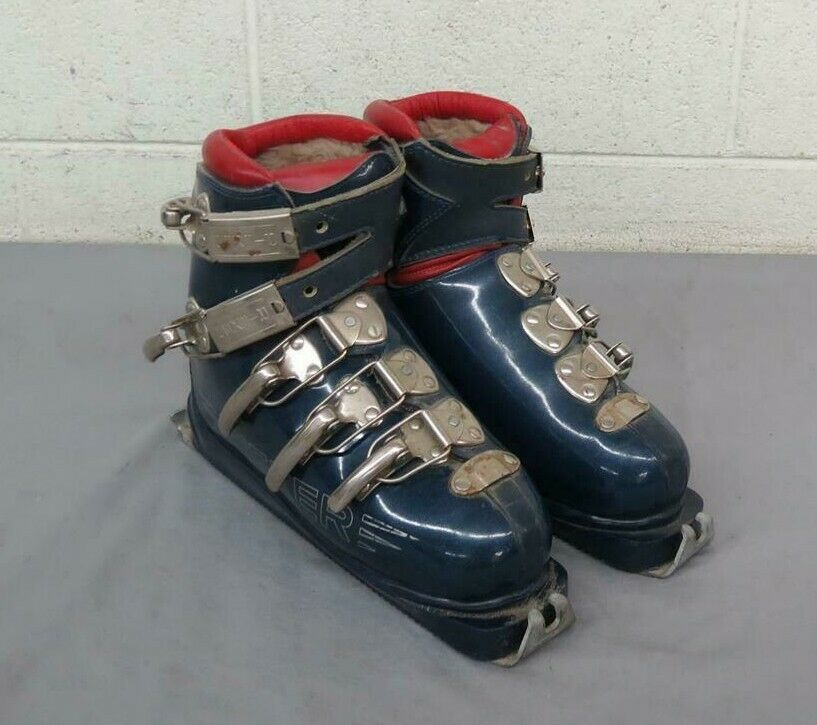 Vintage 1960s Rieker bluee & Red Faux Fur Lined Downhill Ski Boots US Men's 6