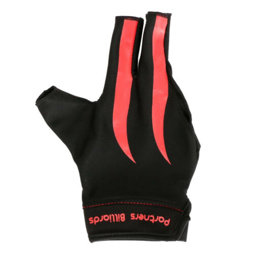 Red Black Three Fingers Right Hand Snooker Pool Cue Billiard Gloves