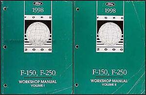 1998 Ford F150 F250 Shop Manual 2 Volume Set F 150 250 ...