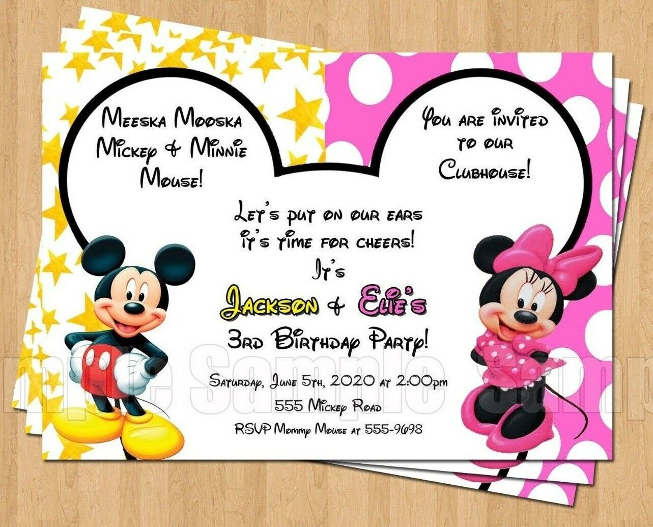 10 Minnie Mickey Mouse Twins Birthday Party Invitations Personalized ...