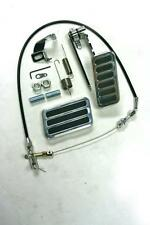 "Aluminum 6 Pad Gas Pedal Brake Pad + 24"" Black Throttle Cable Bracket Spring Kit"