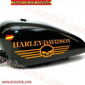 2x-Stickers-Vinilo-Decal-Calcomania-Motorcycle-Harley-Davidson-Deposito-Calavera