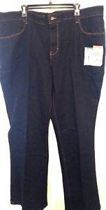 Women-Jeans-Faded-Glory-Blue-Dark-Denim-Boot-Cut-Average-Plus-31-034-Inseam-NWT-18W