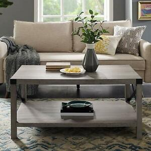Rustic Modern Farmhouse Metal And Wood Rectangle Accent Coffee