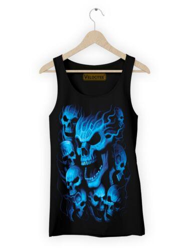 Velocitee Ladies Vest Blue Ghost Skulls Evil Horror Souls Goth Biker  A18634