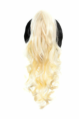 23'' Curly Pony Tail Clip Flaxen Blonde Cosplay Wig Clip Only NEW