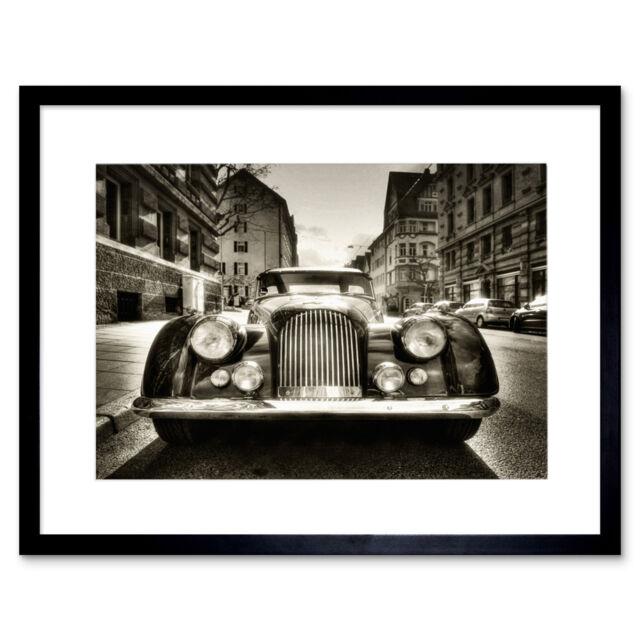 Morgan Oldtimer Vintage Car Black White Picture Framed