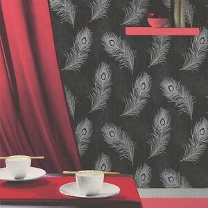 Debona-Viola-Feather-Pattern-Glitter-Motif-Bird-Textured-Vinyl-Wallpaper-40916