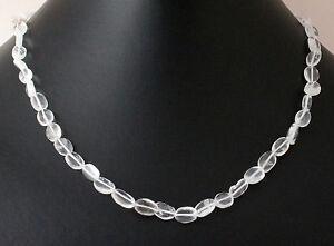 Bergkristall-Kette-Edelsteinenkette-45cm-Lang-Collier-Halskette-Schmuck-Kristall