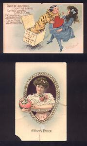 Vintage Victorian Valentine & Easter Postcards with Ben Franklin Stamp!