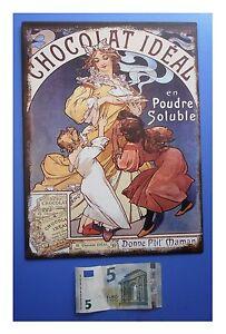 Targa-vintage-034-Chocolat-Ideal-en-poudre-soluble-034-cioccolato-metallo-cm-33x25