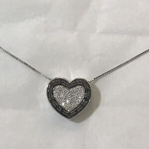 Collar Oro Blanco 18KT con Colgante Corazón Diamante