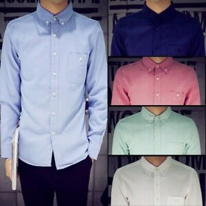 Mens-Long-Sleeve-Pocket-Oxford-Shirts-Cotton-Button-Down-Thick-Casual-Smart-Tops