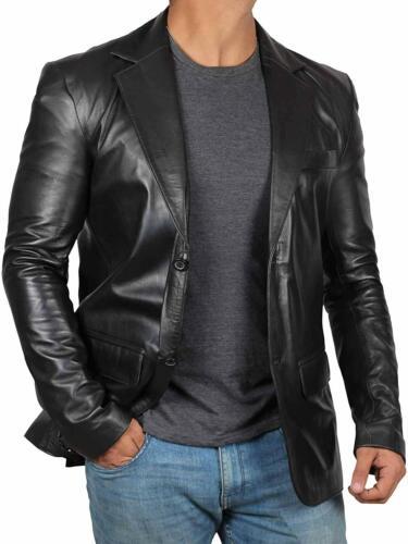 NEW Men Genuine Lambskin 100/% Leather Blazer Soft TWO BUTTON Black Coat Jacket