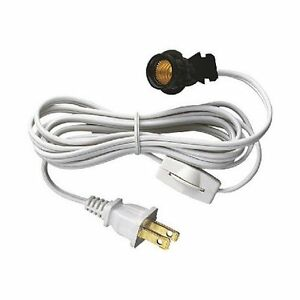 westinghouse clip in lamp cord set 6 foot white w on off switch 1 cord. Black Bedroom Furniture Sets. Home Design Ideas