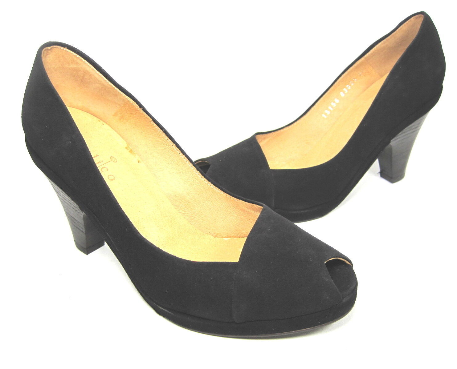 COCLICO WOMEN'S  POLLY POLLY POLLY PEEP TOE  PUMP BLACK LEATHER EUR 36.5 US SIZE 6.5 MEDIUM f6023e