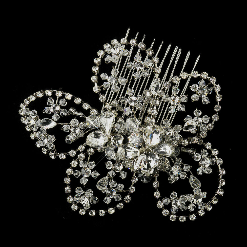 Enchanting Swarovski Crystal Bead & Rhinestone Floral Wedding Bridal Comb