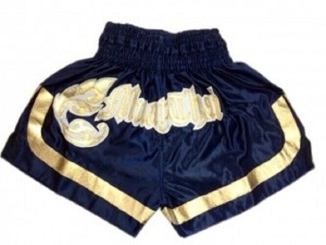 Woldorf Boxing Purple Muay Thai Shorts with gold thai letter design