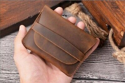 GENUINE LEATHER MENS SMALL ID CREDIT CARD WALLET HOLDER POCKET CASE BROWN Chic