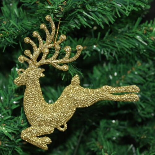 Pack of 3 Glitter Flying Reindeer Christmas Tree Hanging Pendant Decorations