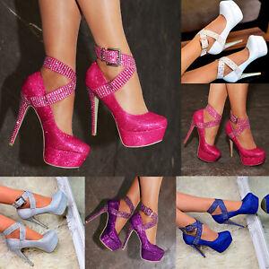 High Ladies Shoes Strap Platform Evening Stiletto Ankle Heels sQthdr