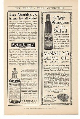 Collectibles Merchandise & Memorabilia Initiative 1914 Absorbine Jr & Mcnally's Olive Oil Advertisement Latest Fashion