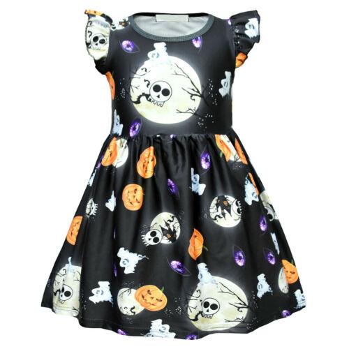 Toddler Baby Kids Girls Ruched Pumpkin Halloween Dress Party Princess Dresses