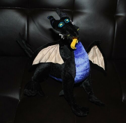 "Walt Disney Dragon Sleeping Beauty Black Bean Bag Plush Stuffed Animal Toy 10"""