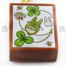 JAPAN TOTORO & 4 LEAVE  PORCELAIN PLATE WOODEN MUSIC BOX KEY RING 403363