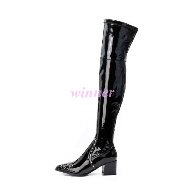 Punk Womens Womens Womens Pointed Toe Leather Block Heels Side Zippers Over Knee High Boots ha 7ecf84