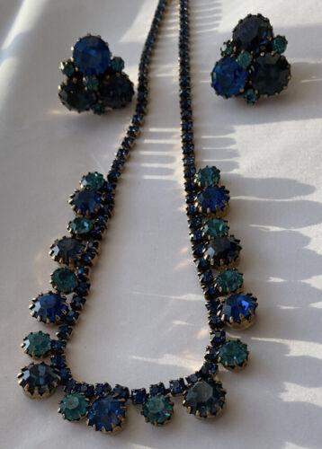 Vintage Rare BLUE  And GaREEN Rhinestone Necklace