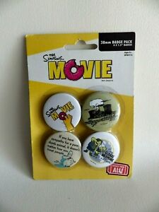 Badge-The-SIMPSON-MOVIE-4x-38mm-BADGE-PACK-neuf
