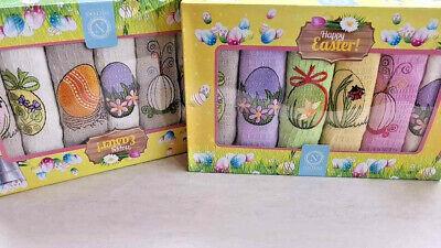 Easter Design Embroidered waffle kitchen tea towels set 40x60cm 100/% Cotton