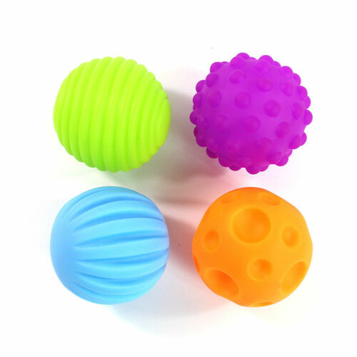 Baby Bath Toy Textured Sound Touch Training Ball Bathing Massage Soft Toy 4//6Pcs