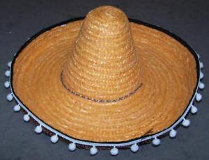 0d3ad0ed34381 LARGE TALL MEXICAN ORANGE STRAW SOMBRERO HAT W HANGING TASSELS ...