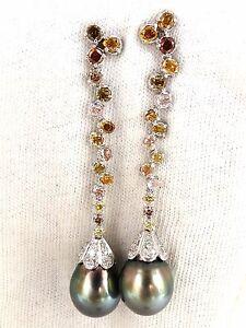 $16000 12.70mm NATURAL TAHITIAN PEARLS DANGLE COLOR DIAMOND EARRINGS 14KT